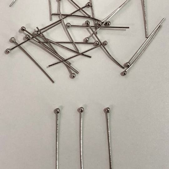 Silver Ball Point Headpins, 0.5mm (24 Gauge) by 25mm, Silver Plated Brass Ball Head Pins