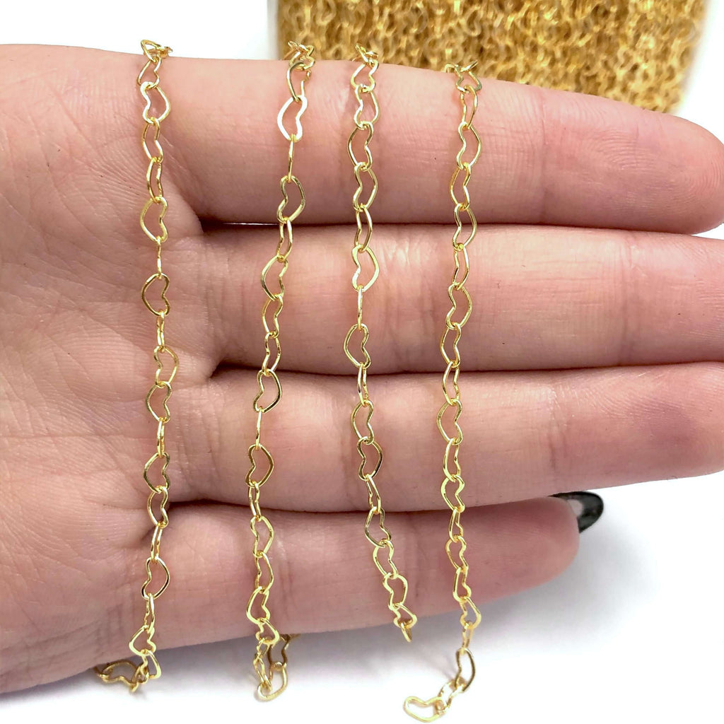 24Kt Shiny Gold Plated Brass Heart Chain, 5x3 mm Gold Plated Heart Chain,