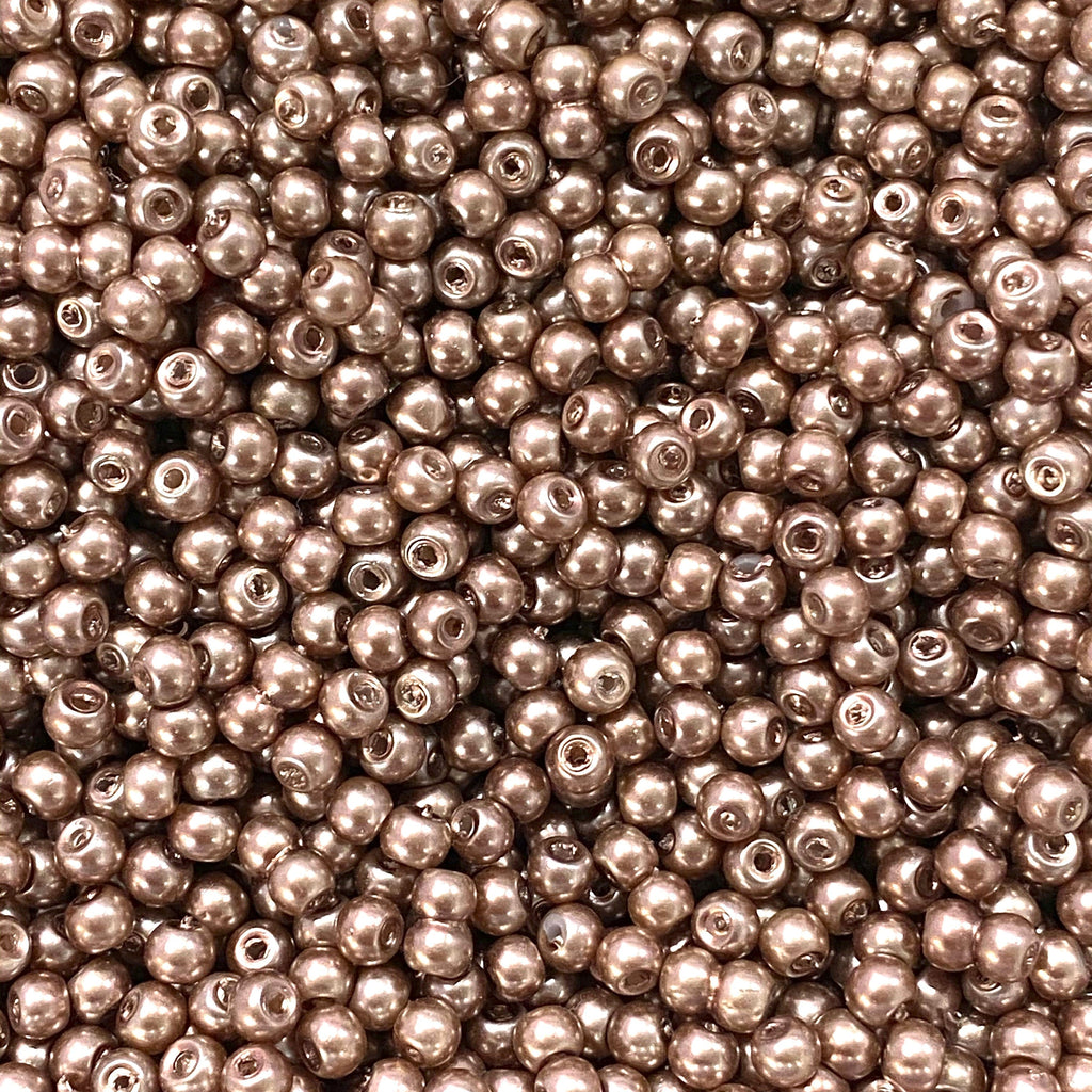 Glass Pearl Beads 4mm, Lt. Brown Color