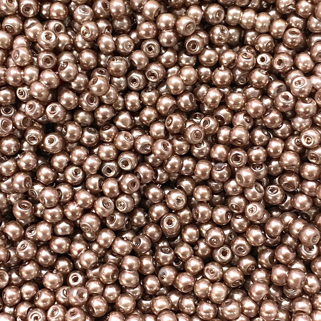 Glass Pearl Beads 3mm, Lt. Brown Color