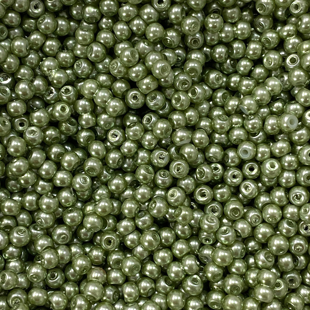 Glass Pearl Beads  6mm 8mm, Light Green Color