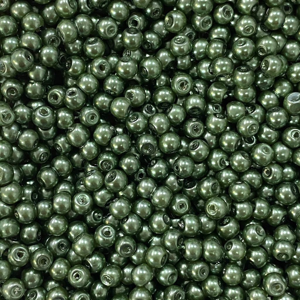 Glass Pearl Beads  4mm, Olivine Color