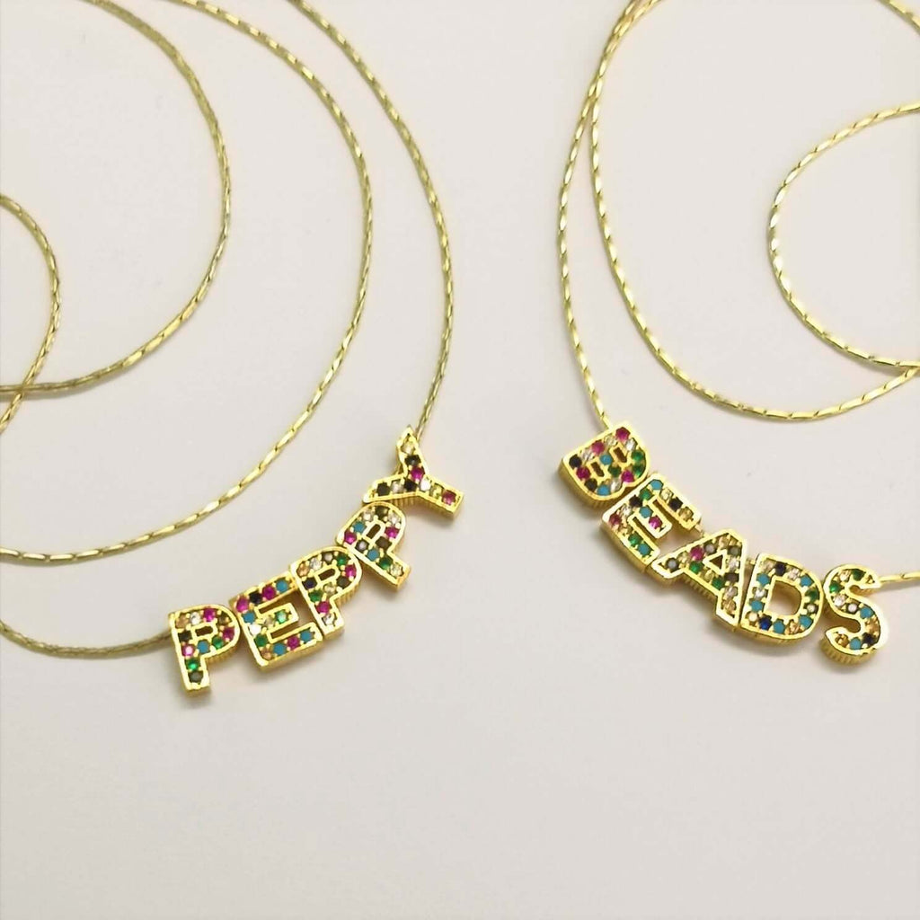 24Kt Gold Plated Brass Multicolor Micro Pave Initial Charms
