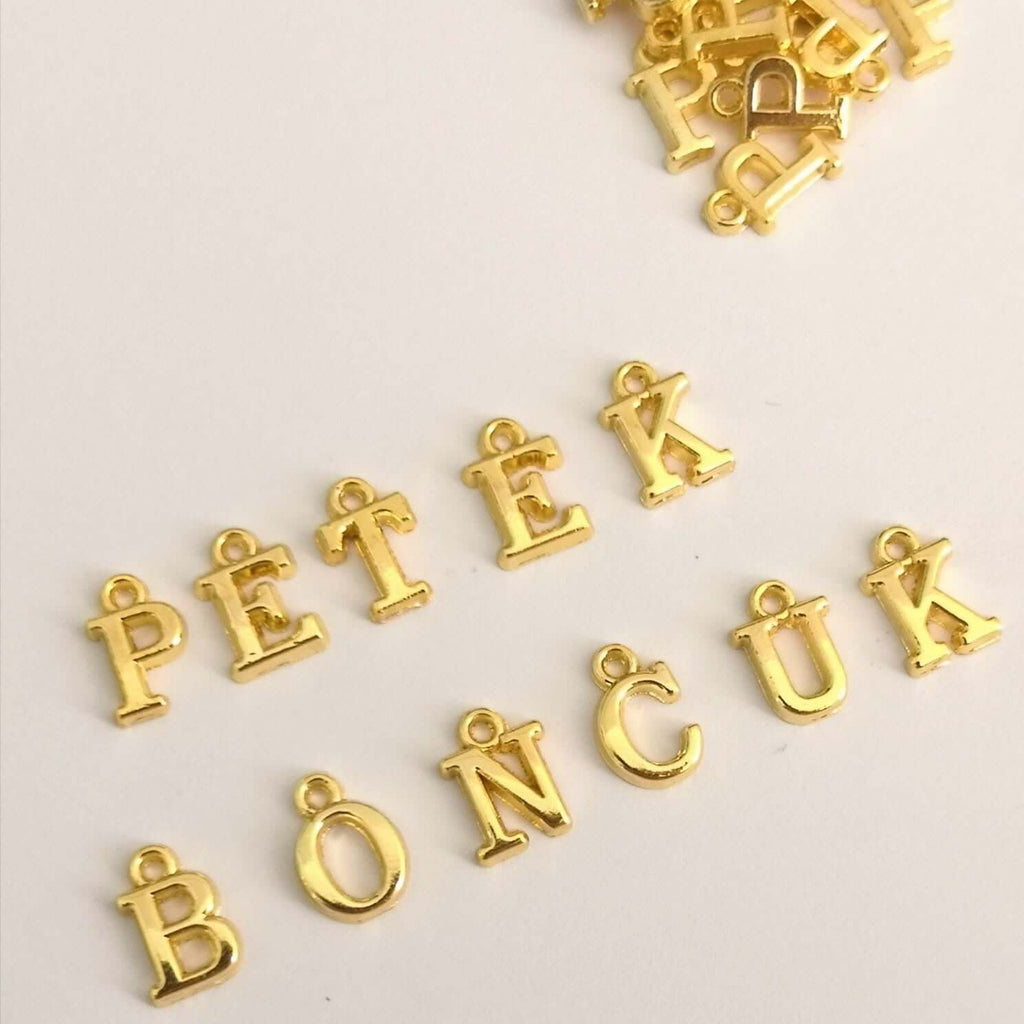 24Kt Gold Plated Brass Initial Charms