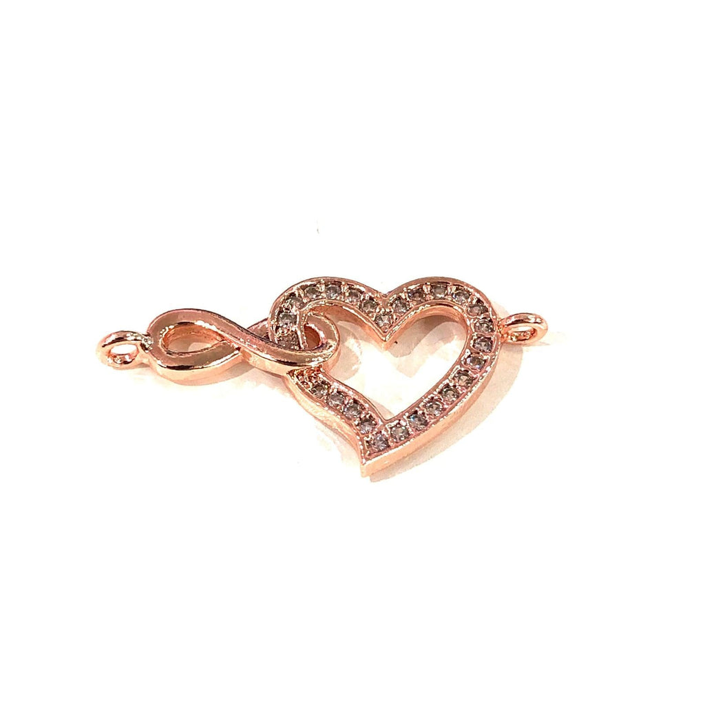 Heart&Infinity Double Loop Rose Gold Plated Charms, Bracelet Charms, Connector Charms