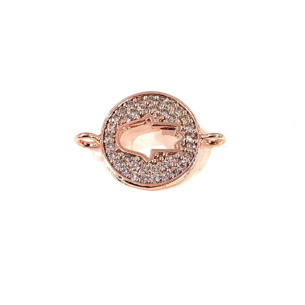 Hamsa Double Loop Rose Gold Plated Charms, Bracelet Charms, Connector Charms