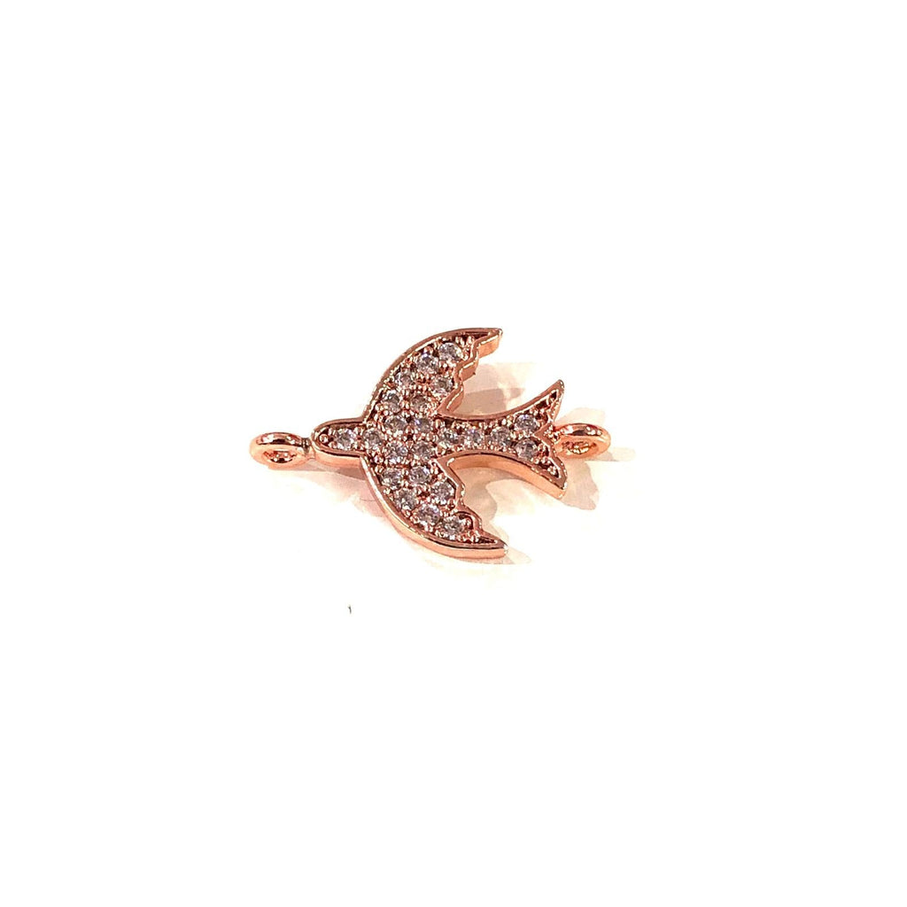 Bird Double Loop Rose Gold Plated Charms, Bracelet Charms, Connector Charms
