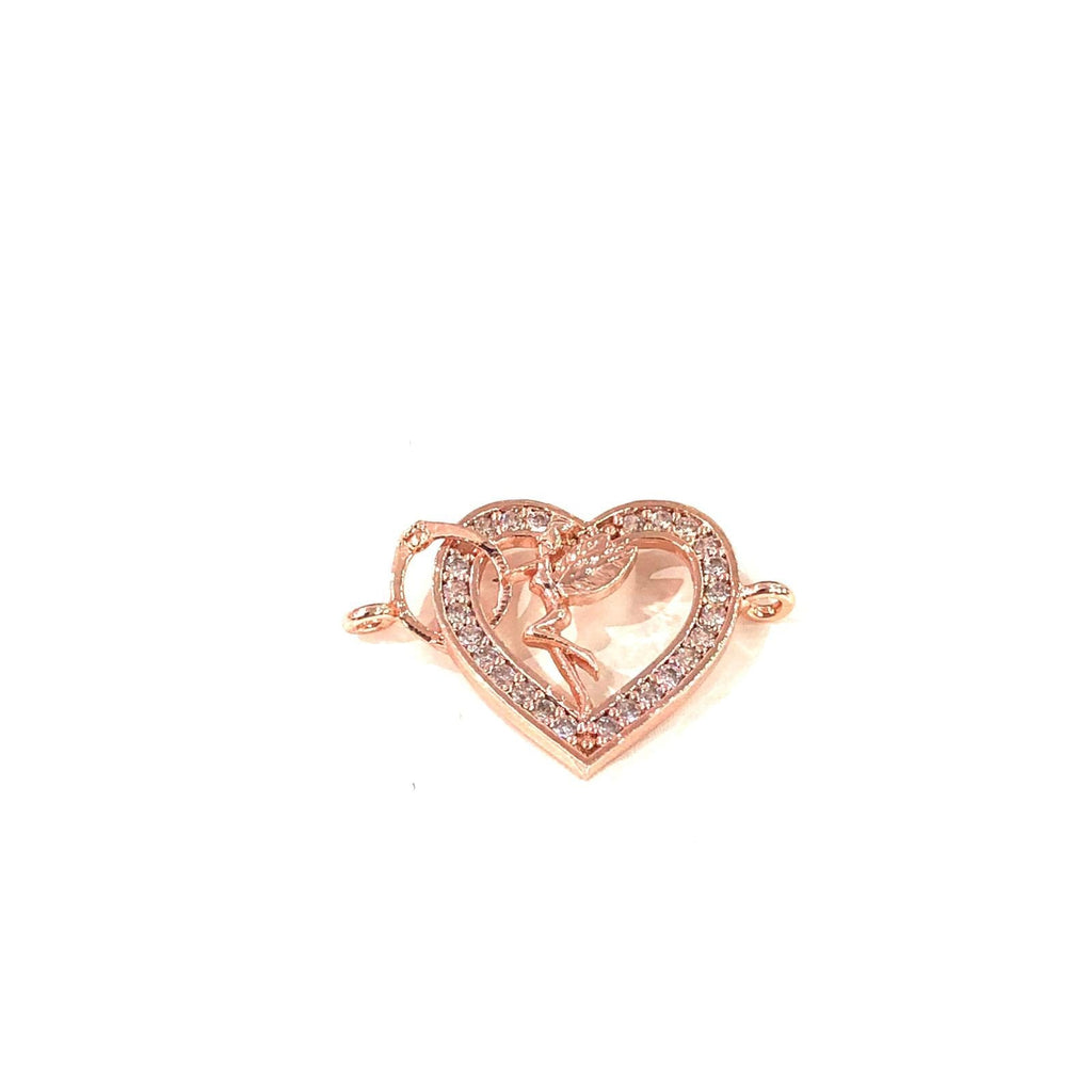 Heart&Tinkerbell Double Loop Rose Gold Plated Charms, Bracelet Charms, Connector Charms