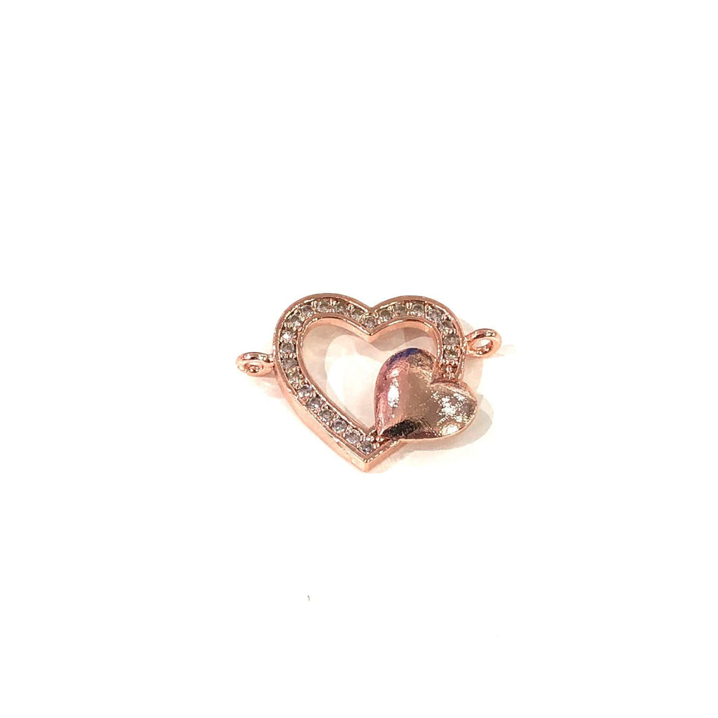 Heart Double Loop Rose Gold Plated Charms, Bracelet Charms, Connector Charms