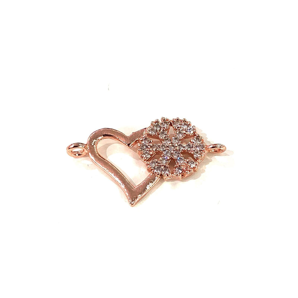 Heart&Snowflake Double Loop Rose Gold Plated Charms, Bracelet Charms, Connector Charms