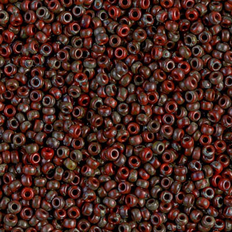 Miyuki Seed Beads 6/0  Picasso Opaque Red Garnet, 4513
