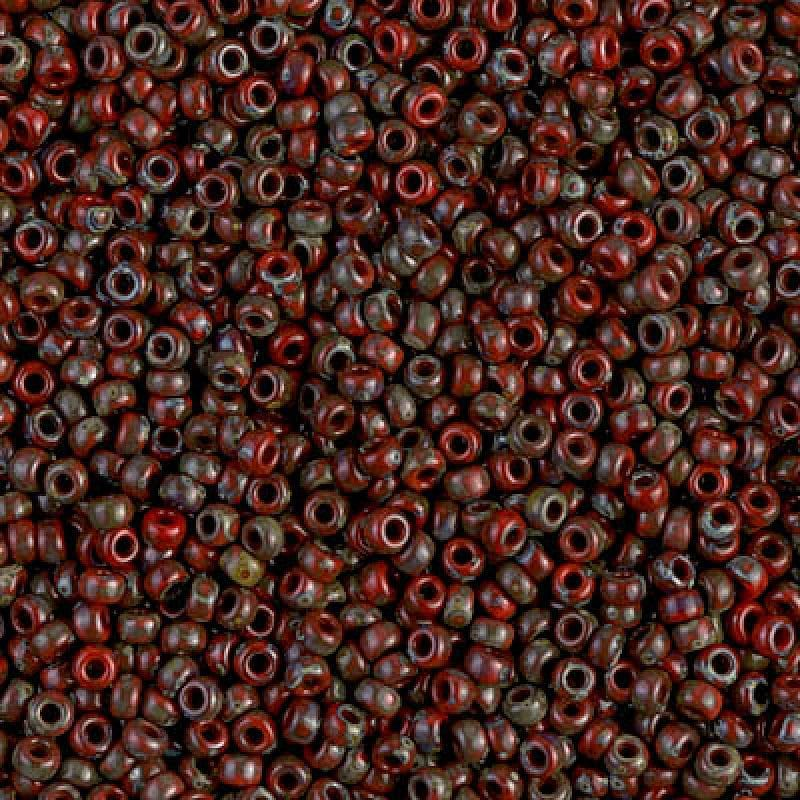 Miyuki Seed Beads 8/0  Picasso Opaque Red Garnet, 4513