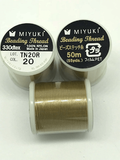 Miyuki Thread  Color 20 Semolina ,Miyuki original nylon thread, delivered by 50 meters on a spool