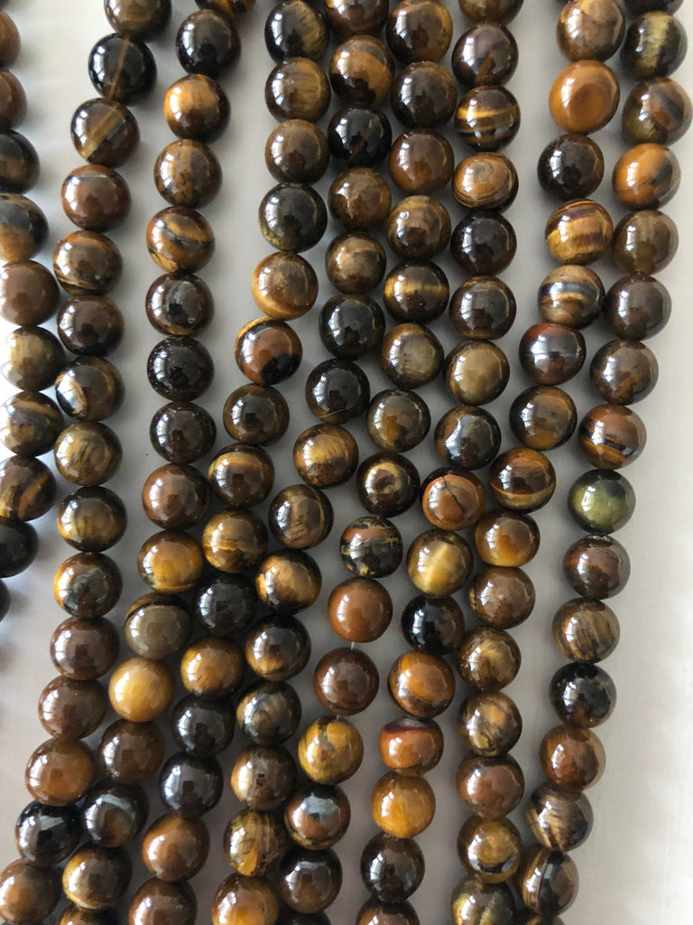 Tiger eyes 6 mm round beads , full strand 62 beads,Beads,Gemstone Beads,Natural Gemstone