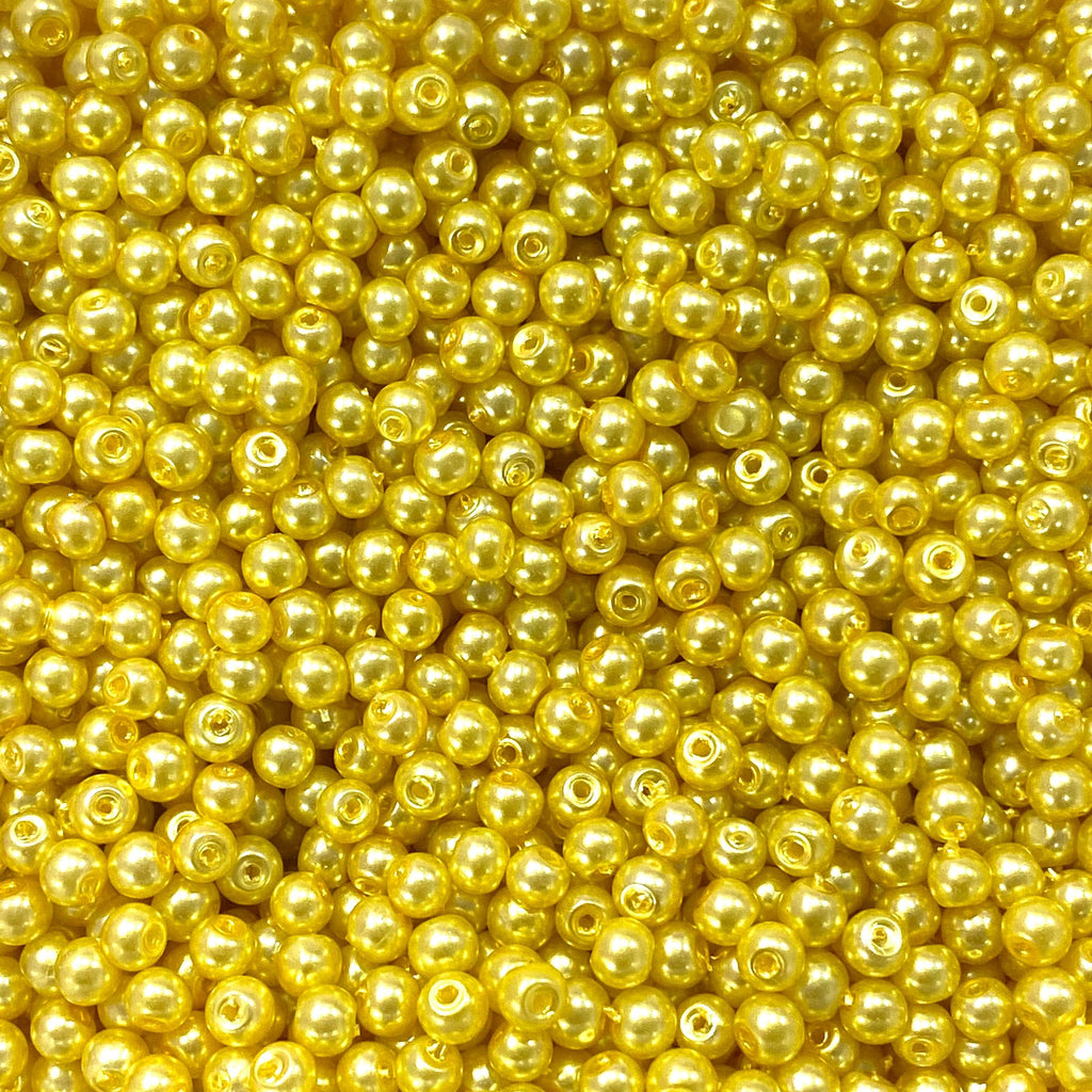 Glass Pearl Beads  4mm, Yellow Color