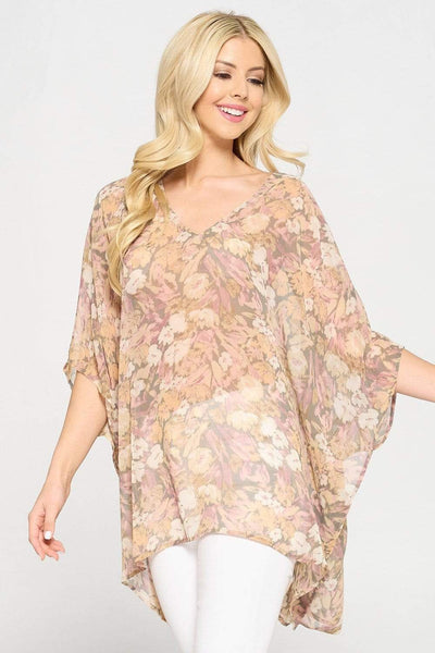 Adrienne Top Small / Pink/Taupe Fiona Floral Top