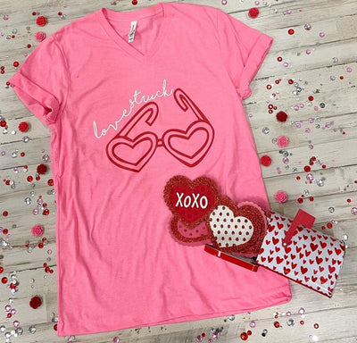 Lovestruck Neon V-Neck Tee - Alabama Threads - Teal Poppy Clothing Boutique