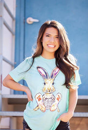 August Bleu Graphic Tee Mint / Small Fancy Pants Bunny Tee
