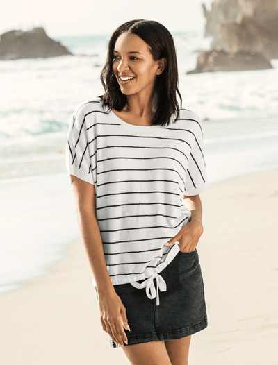 Barefoot Dreams Top Sea Salt w/ Carbon / X Small CozyChic Ultra Lite® Striped Pullover