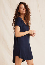 Bella Dahl Dress Endless Sea / Small Bella Dahl V-Neck Tee Dress