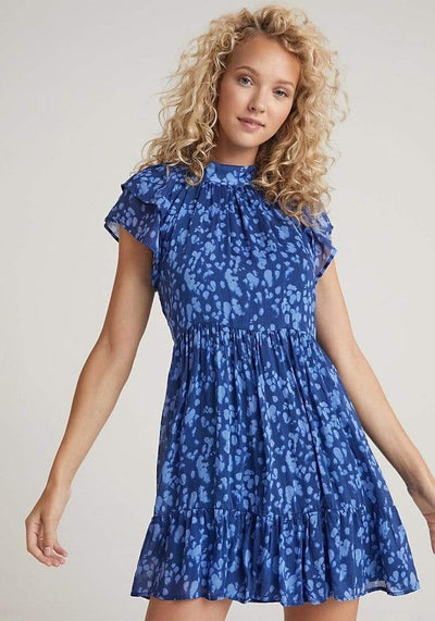 Bella Dahl Dress Washed Indigo Spots / Small Double Flutter Sleeve Dress
