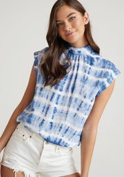 Bella Dahl Top Indigo Tie Dye / Small Cap Sleeve Button Back Blouse