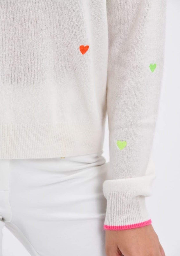 Pia Heart Sweater - Teal Poppy