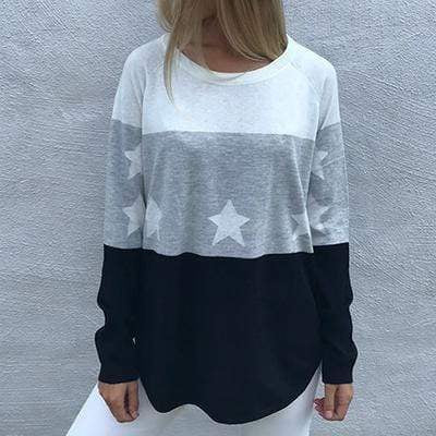 Star Color Block Top - Brodie Fine Cashmere - Teal Poppy Clothing Boutique