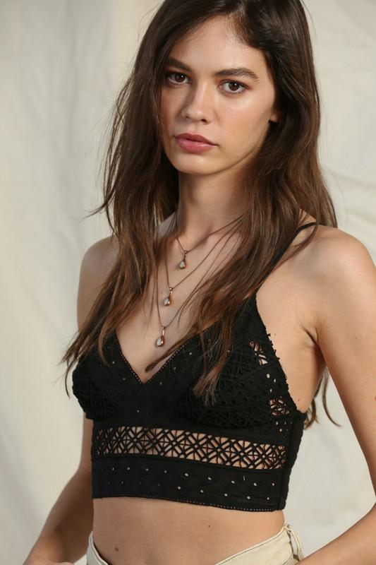By Together Cami Black / Small Lace Crop Cami