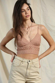 By Together Cami Dusty Rose / Small Lace Crop Cami