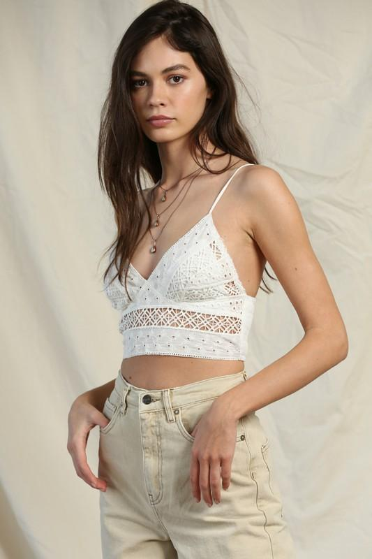 By Together Cami Small / White Lace Crop Cami