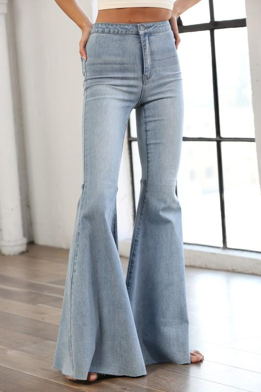 By Together Denim Small / Light Blue Wash Chels Super Flare Jeans