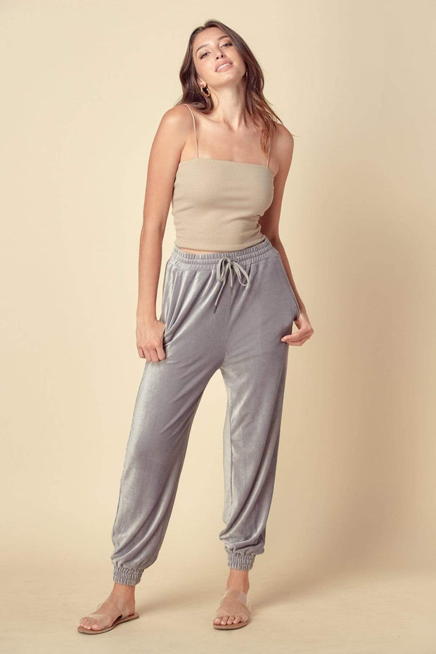 Jennie Velour Jogger - Doe & Rae - Teal Poppy Clothing Boutique
