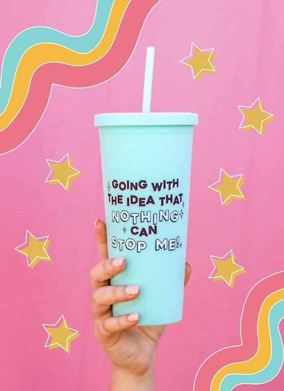 Jadelynn Brooke Tumbler 22oz - Nothing Can Stop Me - Teal Poppy