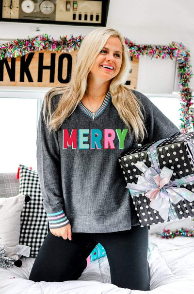 Merry Corded Sweatshirt - Jadelynn Brooke - Teal Poppy Clothing Boutique
