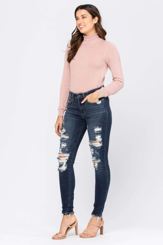 Judy Blue Denim Dark Wash / 0(24) Mid-Rise Destroyed Skinny - 82210REG