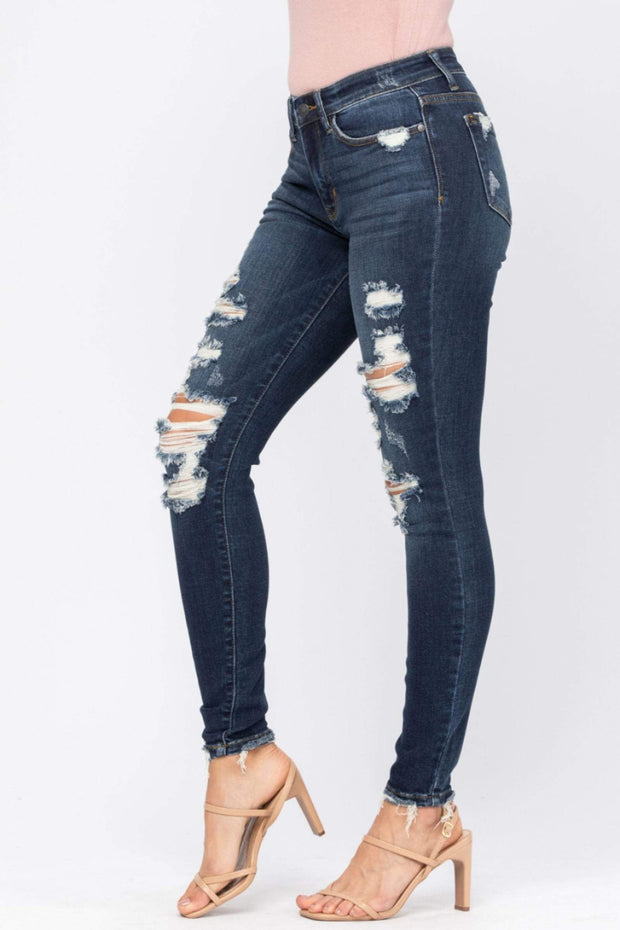 Judy Blue Denim Mid-Rise Destroyed Skinny - 82210REG
