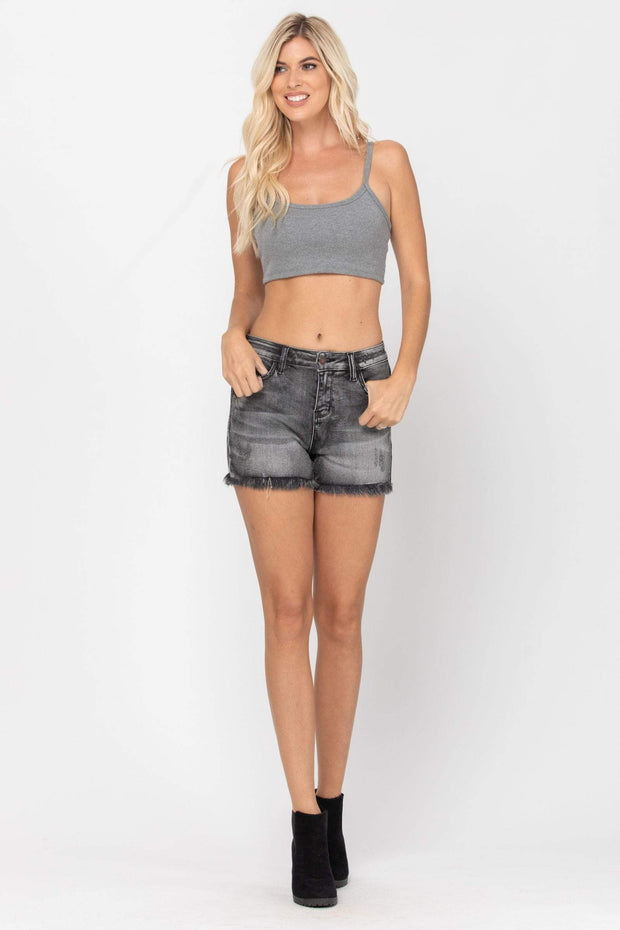 Judy Blue Shorts Black / Small Fray Hem Cut-Off Shorts - 150035