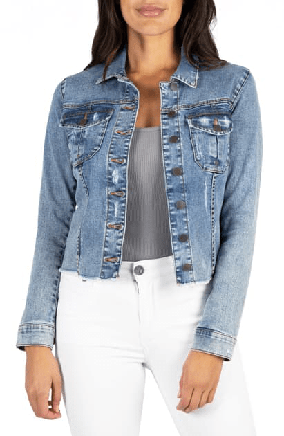 KUT from the Kloth Jacket Kara Fray Hem Denim Trucker Jacket
