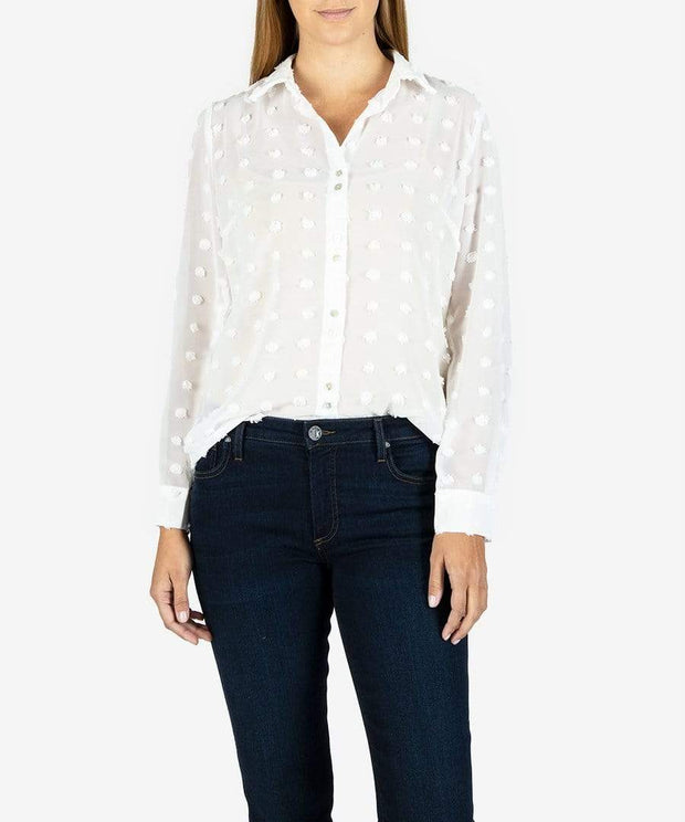 KUT from the Kloth Top White / Small Billa Button Down Shirt
