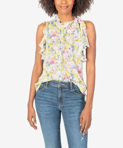 KUT from the Kloth Top Yellow / Small Anastasia Sleeveless Blouse