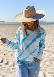Love Stitch Sweater Zebra Tie Dye Fleece