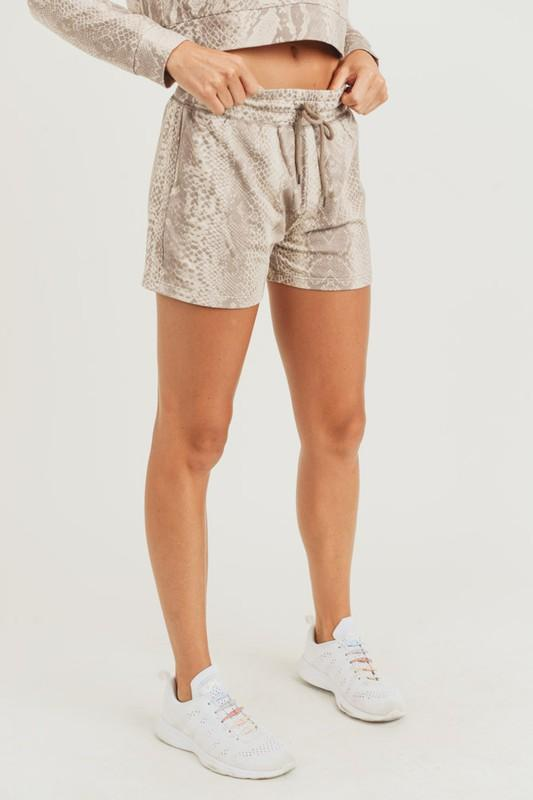 Mono B Shorts Print / Small Sepia Snake Lounge Shorts