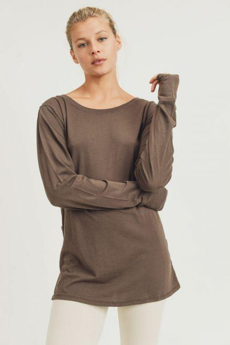 Mono B Top Darby Draped Back Top