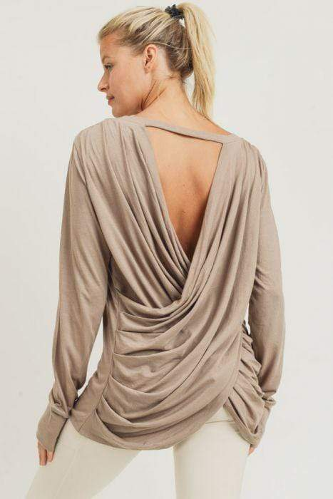 Mono B Top Mushroom / S Darby Draped Back Top