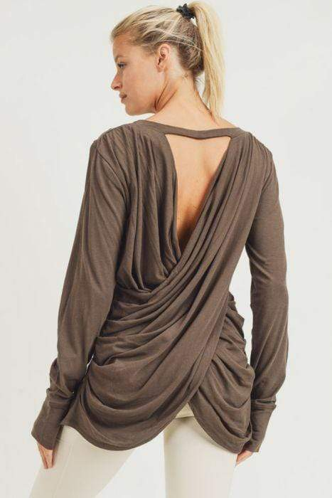 Mono B Top Olive / S Darby Draped Back Top