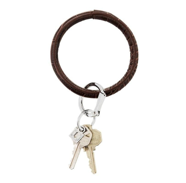 Oventure Leather Big O® Key Ring - Teal Poppy
