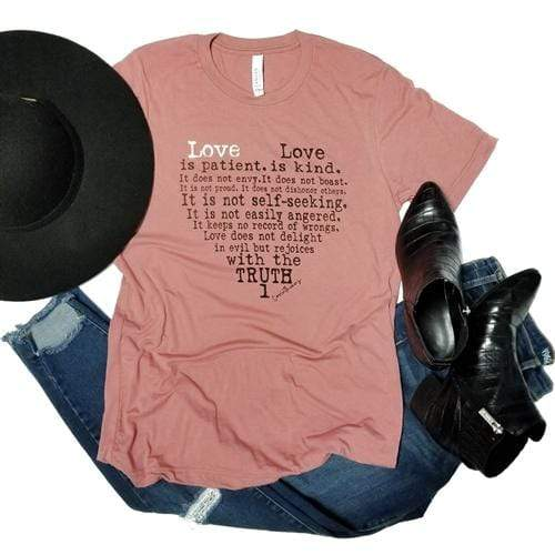 Love Is Patient Graphic Tee - Pink Armadillo - Teal Poppy Clothing Boutique