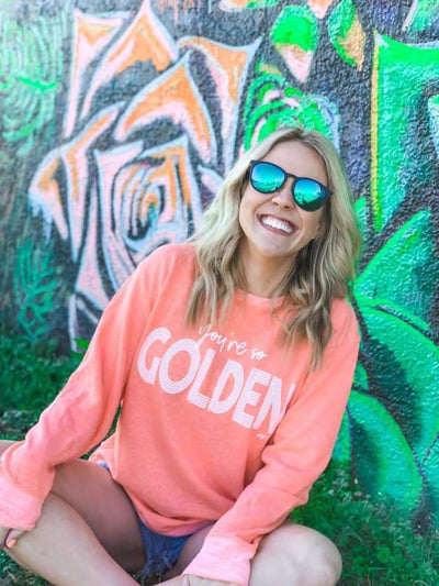 Prickly Pear TX Pullover Neon Coral / Small You're So Golden Pullover