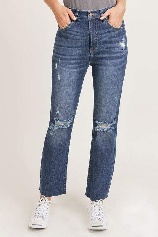 Risen Jeans Denim High Waist Distressed Straight Leg Jeans